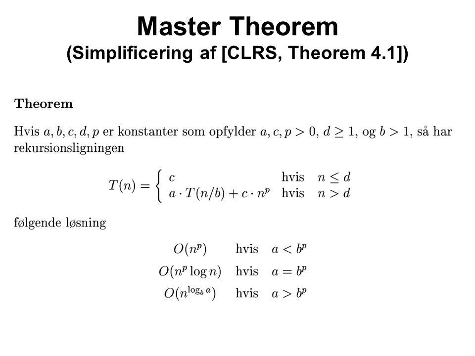 Master Theorem (Simplificering af [CLRS, Theorem 4.1])